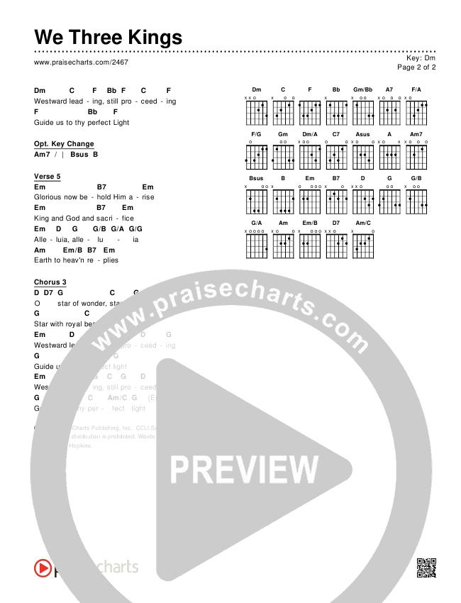 We Three Kings Chords & Lyrics (Traditional Carol / PraiseCharts)