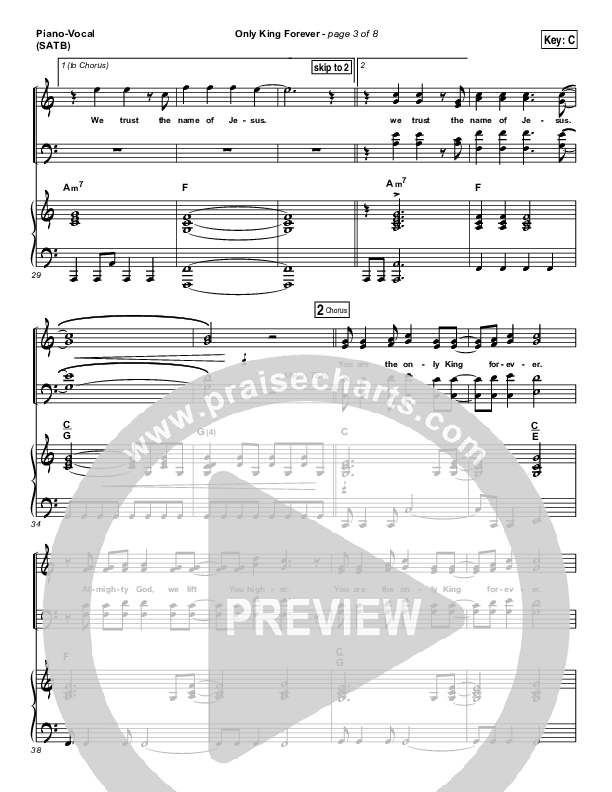 Only King Forever Piano/Vocal (SATB) (Elevation Worship)