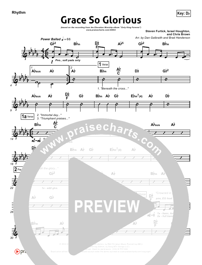 Grace So Glorious Rhythm Chart (Elevation Worship)