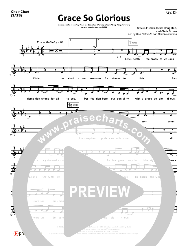 Grace So Glorious Choir Sheet (SATB) (Elevation Worship)