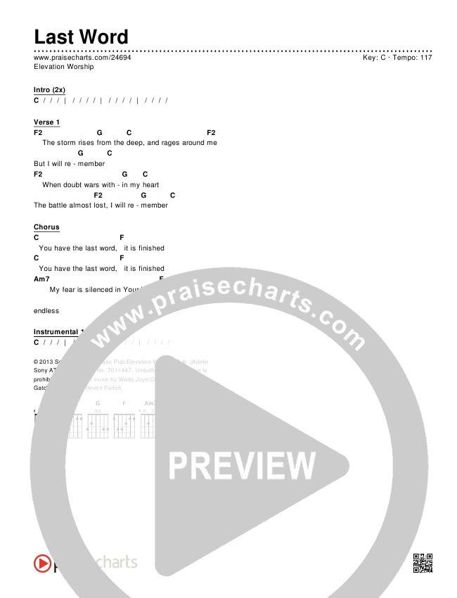 Last Word Chords - Elevation Worship | PraiseCharts