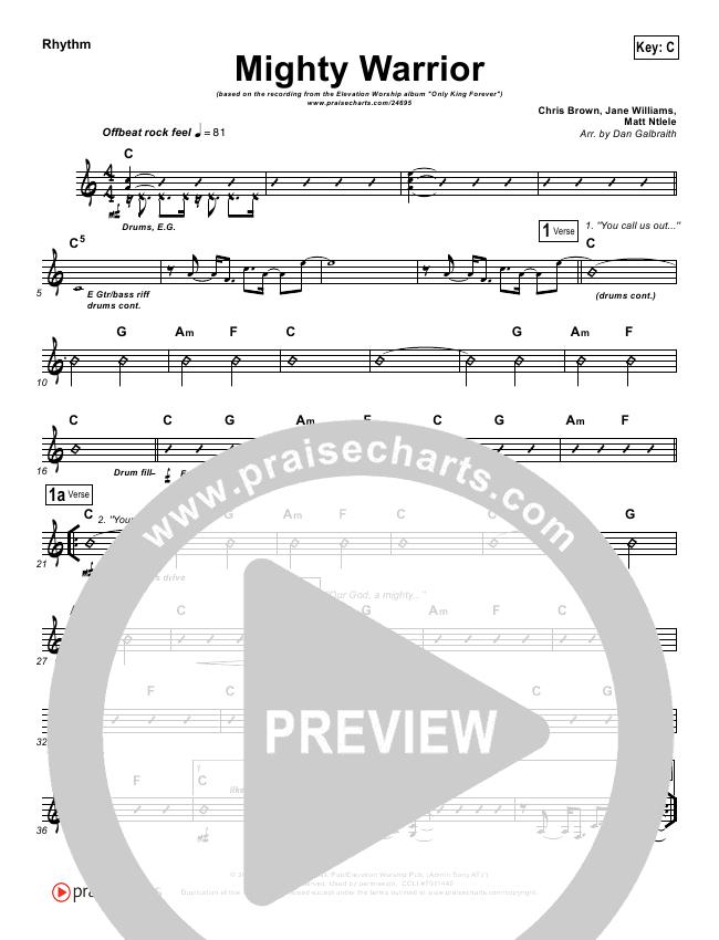Mighty Warrior Rhythm Chart (Elevation Worship)