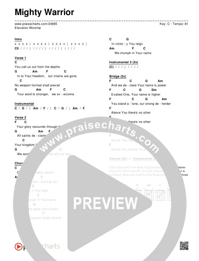 Mighty Warrior Chords & Lyrics (Elevation Worship)