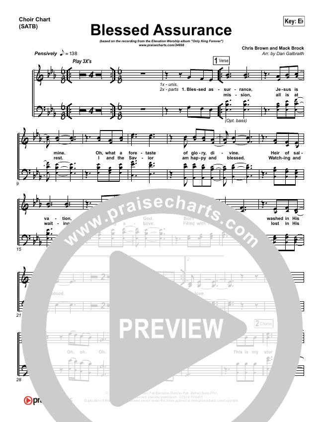 Blessed Assurance Choir Sheet (SATB) - Elevation Worship | PraiseCharts