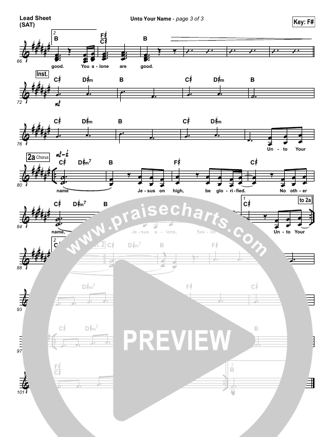 Unto Your Name Lead Sheet (SAT) (Elevation Worship)