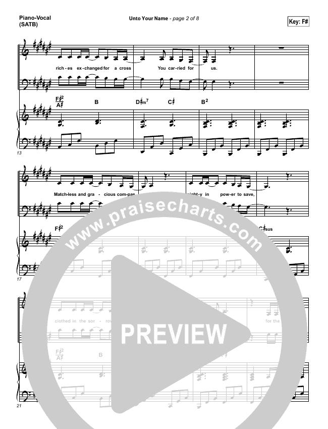 Unto Your Name Piano/Vocal (SATB) (Elevation Worship)