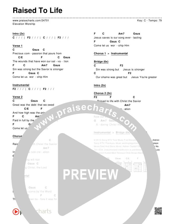 Raised To Life Chord Chart (Editable) - Elevation Worship   PraiseCharts