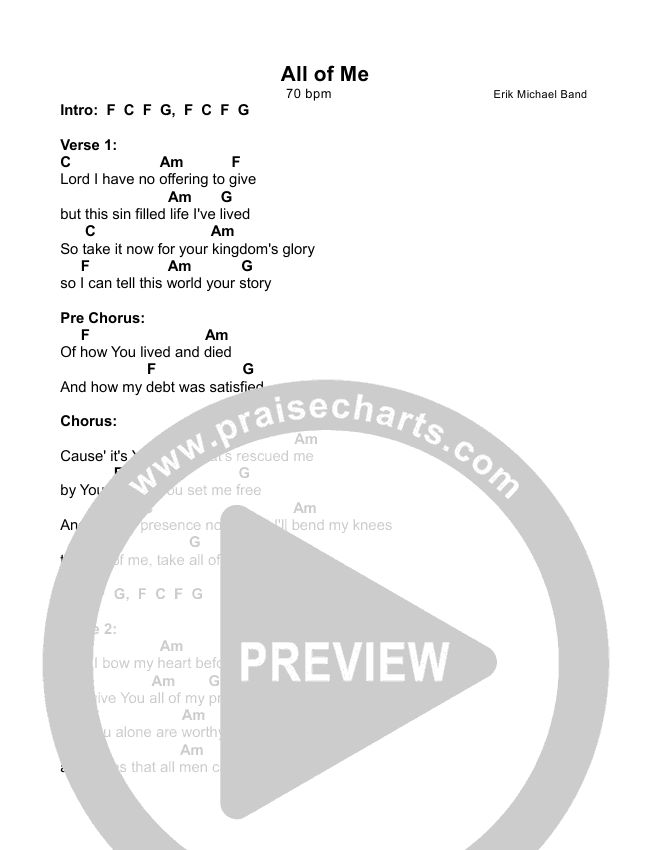 All Of Me Chords - Erik Michael Band | PraiseCharts