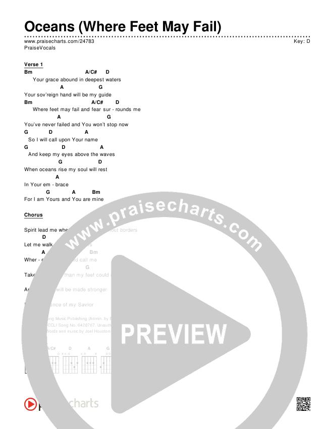 Oceans (Where Feet May Fail) Chords & Lyrics (PraiseVocals)