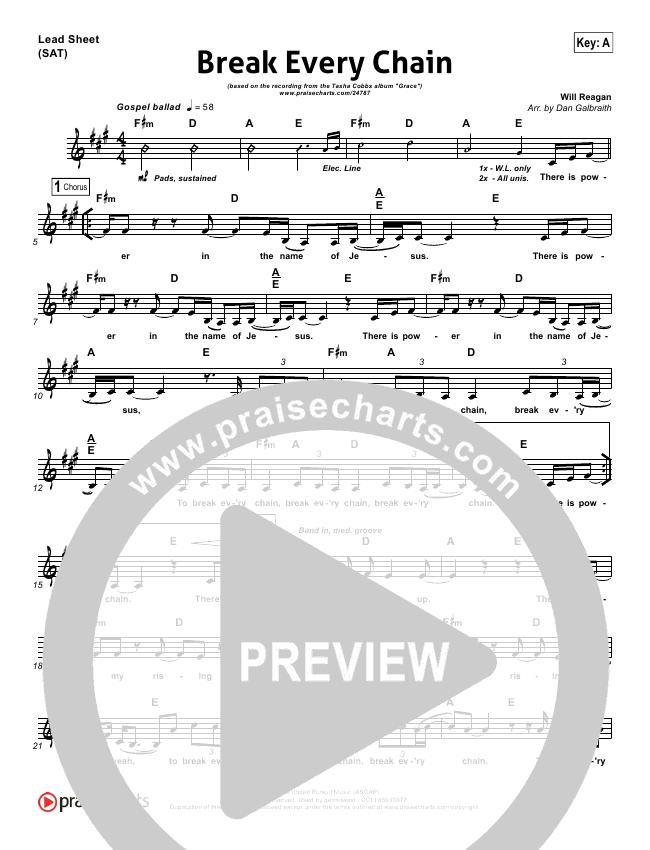 Break Every Chain Lead Sheet & Piano/Vocal - Tasha Cobbs | PraiseCharts