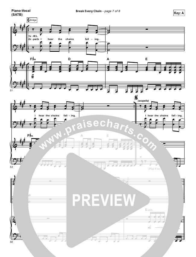 Break Every Chain Lead Sheet Pianovocal Tasha Cobbs Praisecharts