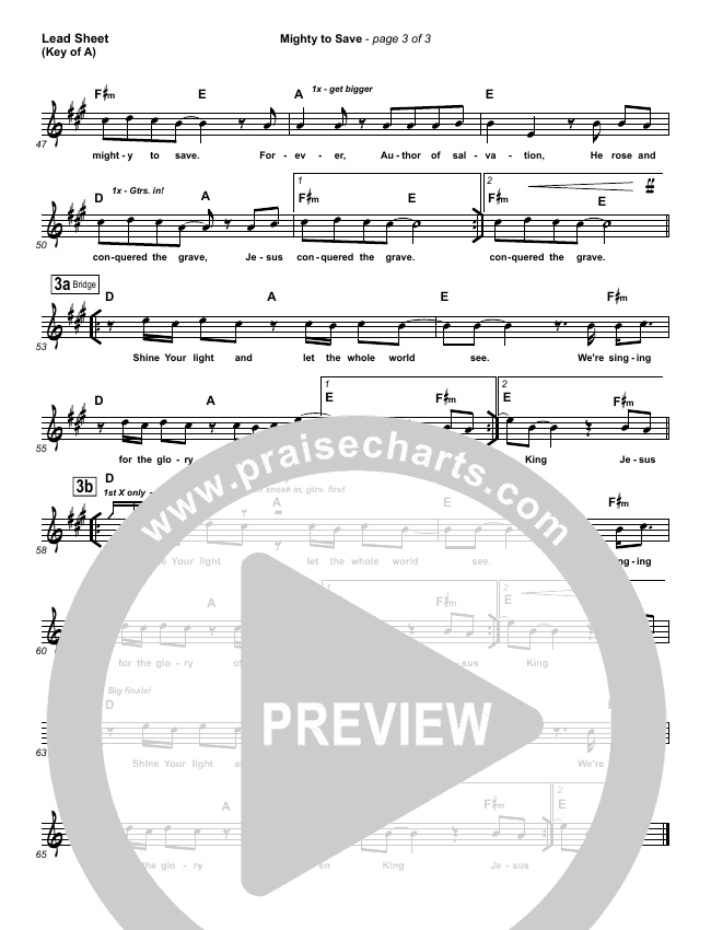 Mighty To Save Lead Sheet (Melody) (Hillsong Worship)