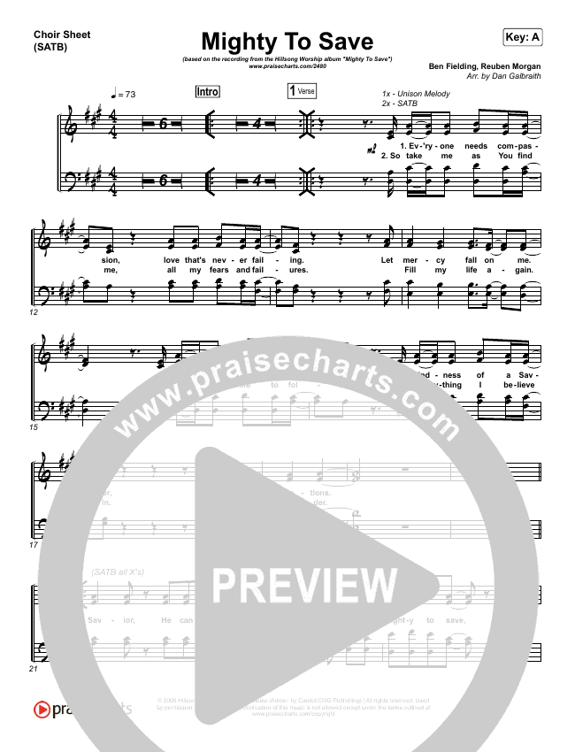 Mighty To Save Choir Sheet Satb Hillsong Worship Praisecharts