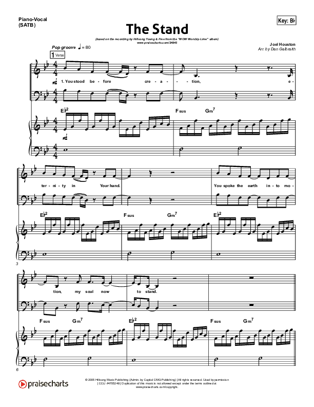 The Stand Piano/Vocal (SATB) (Hillsong Young & Free)