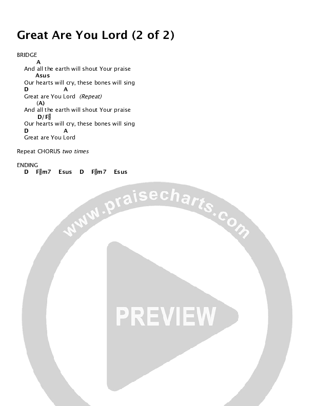 Great Are You Lord (Choral) Chords & Lyrics (All Sons & Daughters)