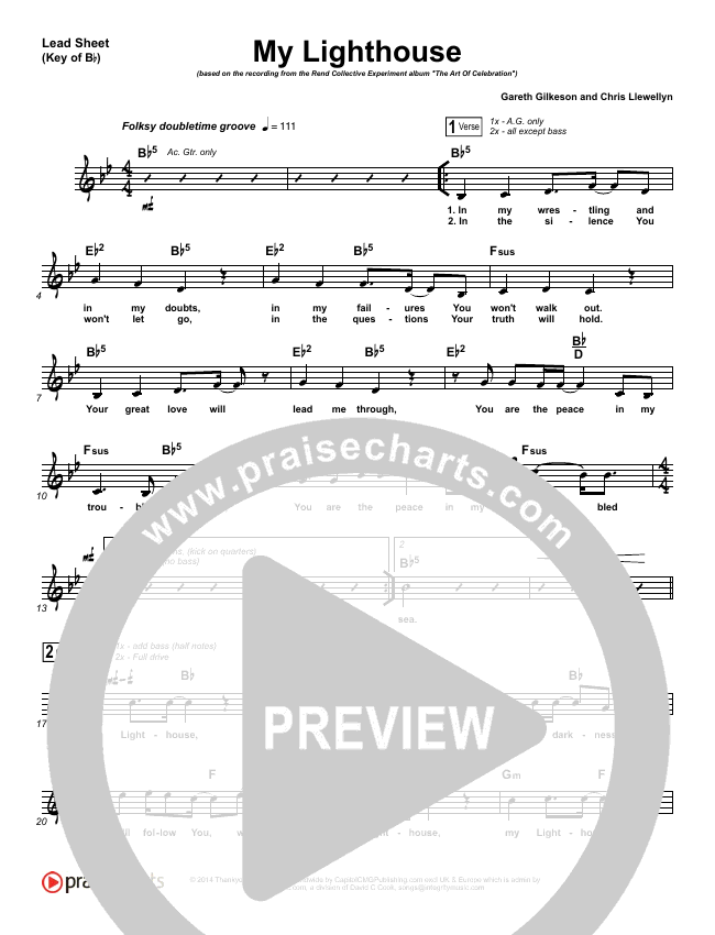 My Lighthouse Lead Sheet (Melody) (Rend Collective)