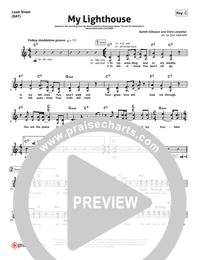 My Lighthouse Lead Sheet & Piano/Vocal - Rend Collective Experiment ...