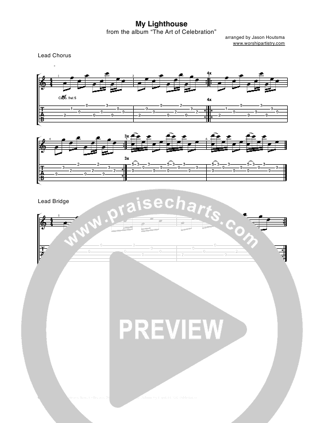 My Lighthouse Guitar Tab Rend Collective Experiment Praisecharts