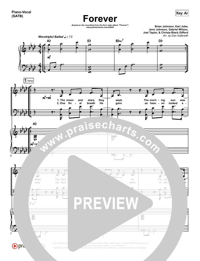 Forever (Live) Piano/Vocal (SATB) (Kari Jobe)