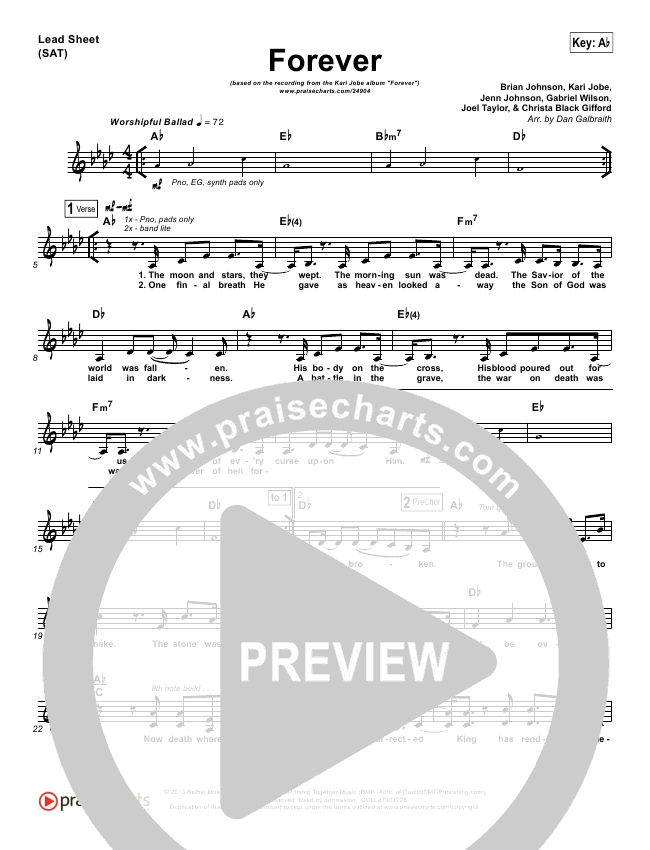 Forever (Live) Piano/Vocal Pack (Kari Jobe)