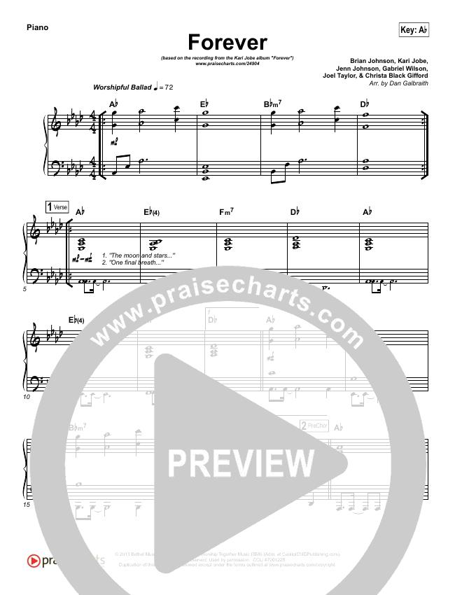 Forever (Live) Piano Sheet (Kari Jobe)