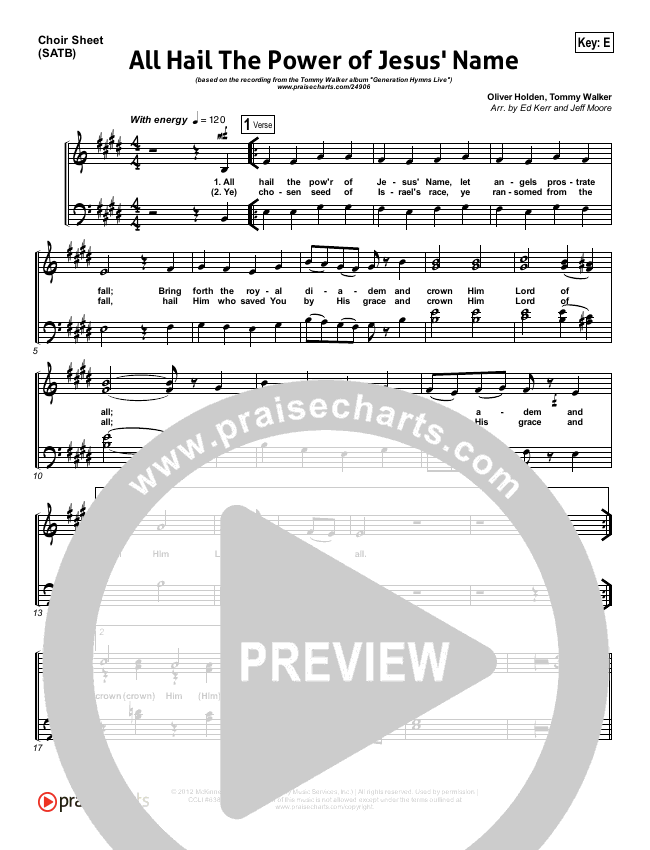 All Hail The Power Of Jesus Name Choir Sheet (SATB) (Tommy Walker)