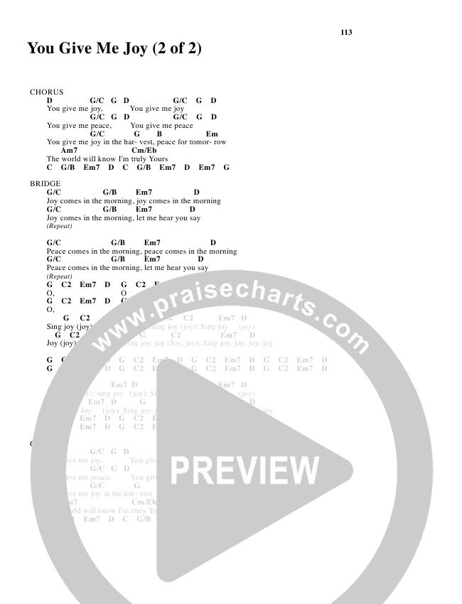 You Give Me Joy Chord Chart (Bethany Music / Jonathan Stockstill)