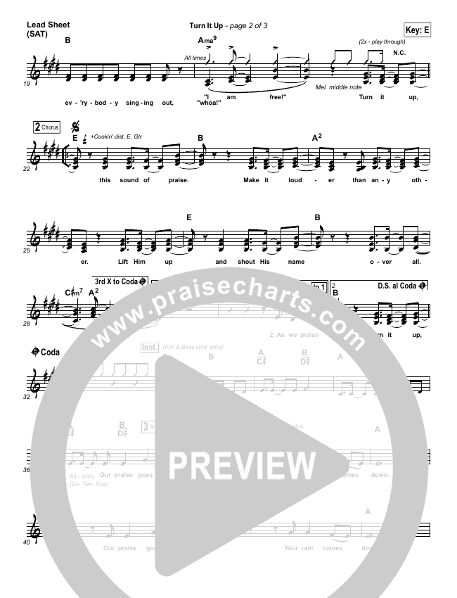 Turn It Up Lead Sheet (SAT) (Planetshakers)