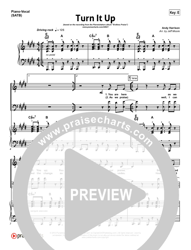 Turn It Up Piano/Vocal (SATB) (Planetshakers)