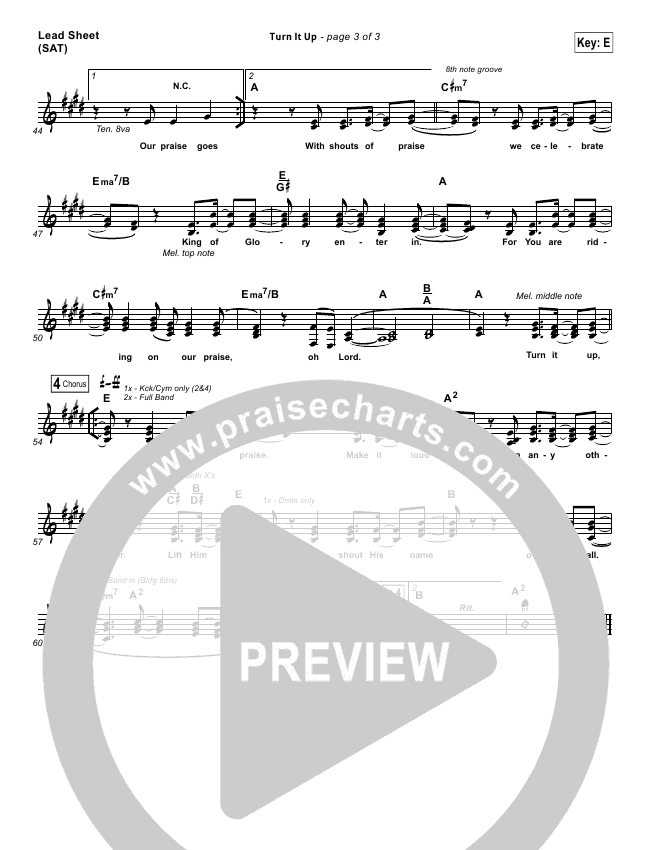 Turn It Up Piano/Vocal Pack (Planetshakers)