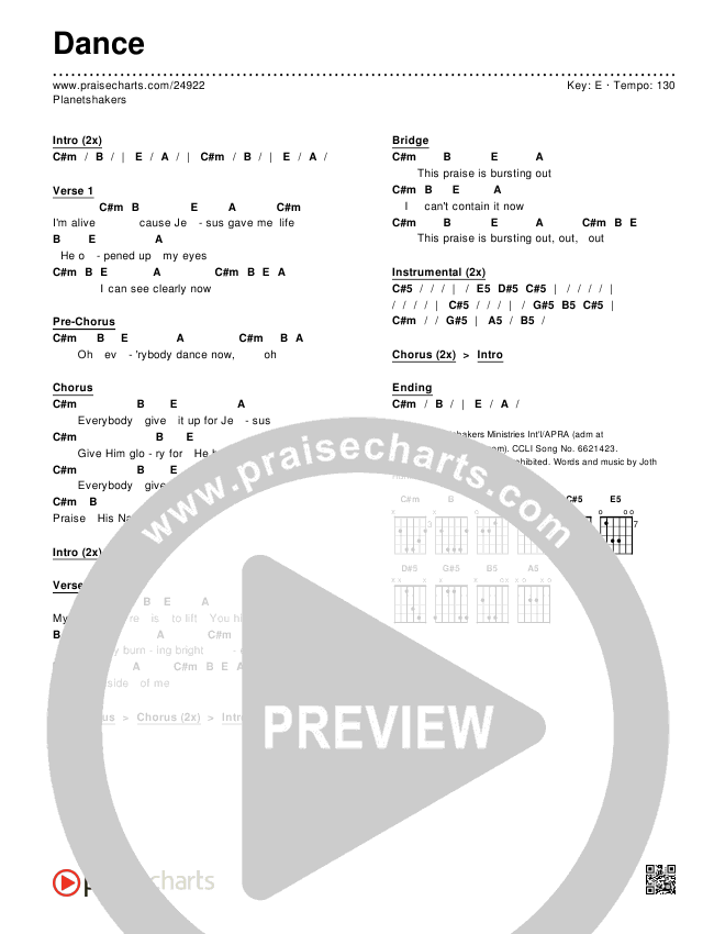 Dance Chords Planetshakers Praisecharts