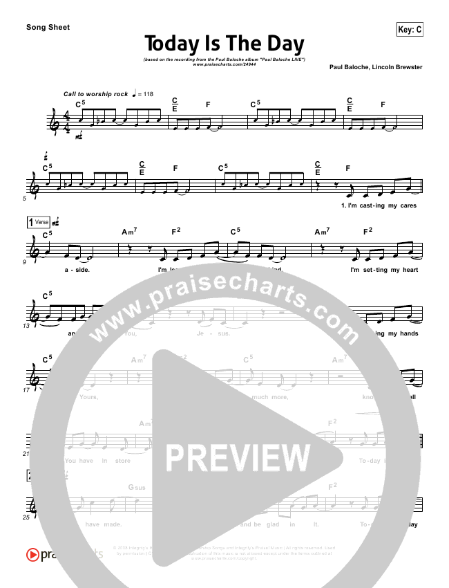 Today Is The Day Lead Sheet (Paul Baloche)