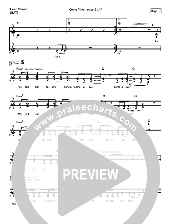 Come Alive (Dry Bones) Lead & Piano/Vocal (Lauren Daigle)