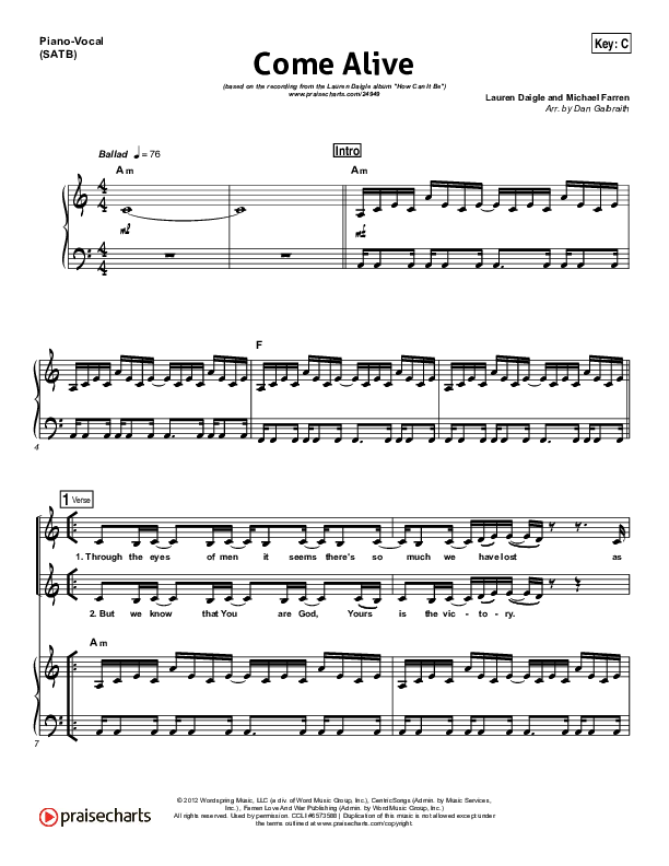 Come Alive (Dry Bones) Piano/Vocal (SATB) (Lauren Daigle)