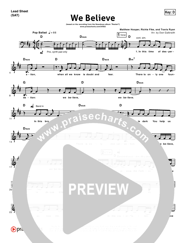 We Believe Orchestration - Newsboys | PraiseCharts