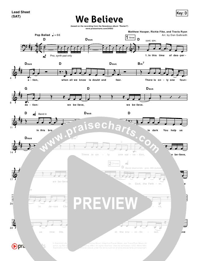 We Believe Lead & Piano/Vocal (Newsboys)