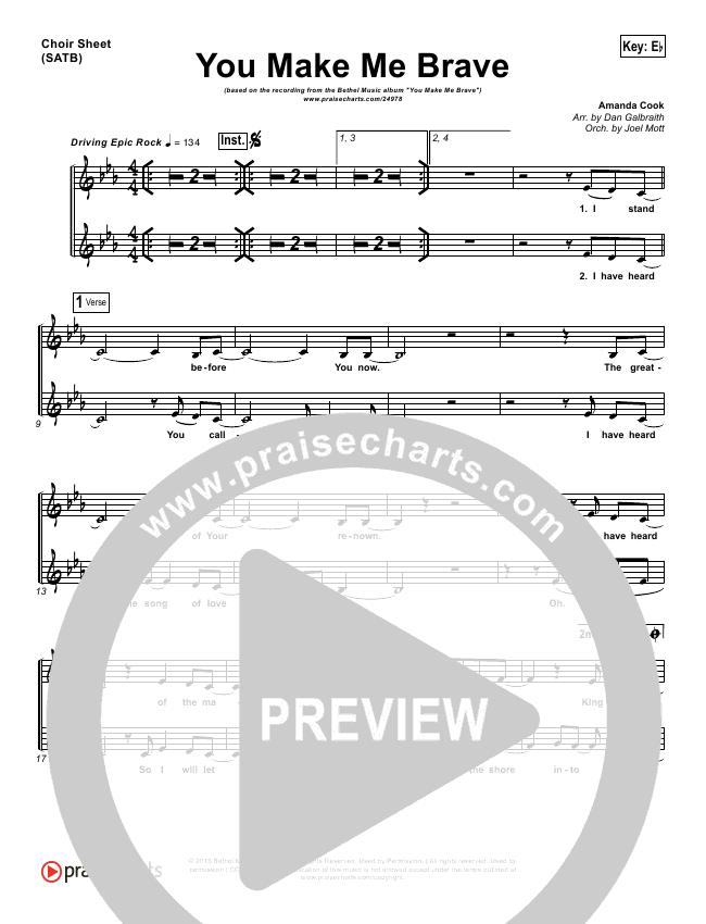 You Make Me Brave Choir Sheet (SATB) - Amanda Cook, Bethel Music ...