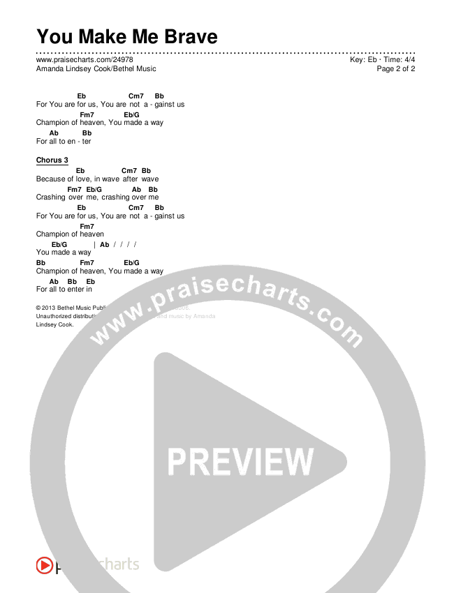 You Make Me Brave Chords & Lyrics (Amanda Lindsey Cook / Bethel Music)