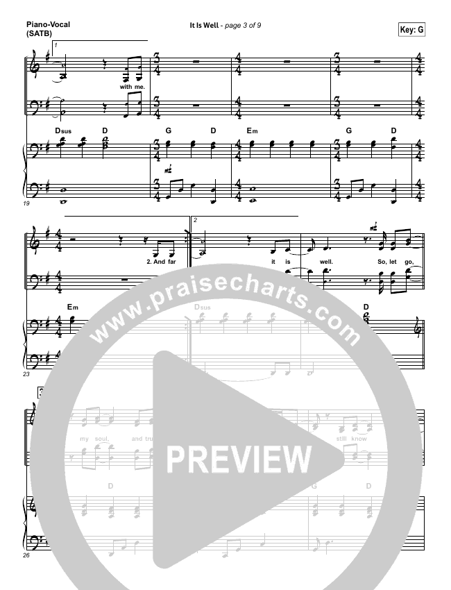 It Is Well Piano/Vocal (SATB) (Kristene DiMarco / Bethel Music)