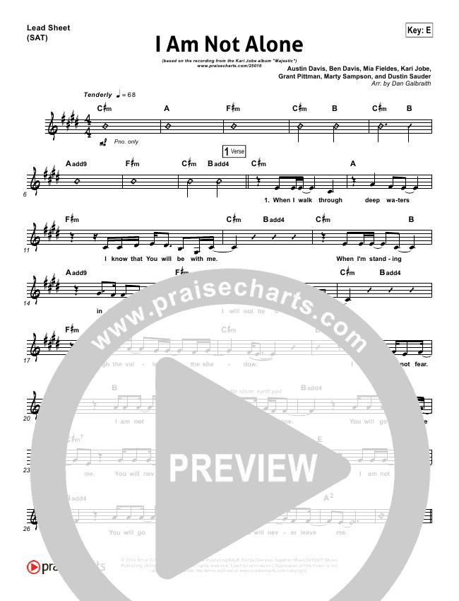 I Am Not Alone Lead Sheet Pianovocal Kari Jobe Praisecharts