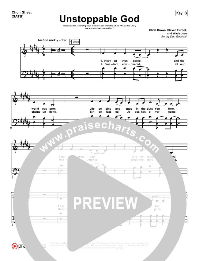 Unstoppable God Choir Sheet (SATB) (Elevation Worship)