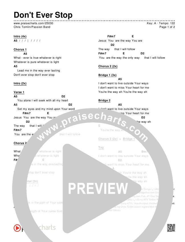 Don't Ever Stop Chords & Lyrics (Chris Tomlin / Passion)