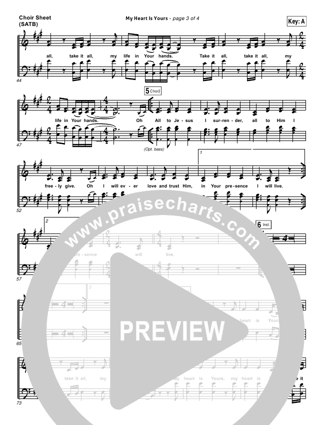 My Heart Is Yours Choir Sheet (SATB) (Kristian Stanfill / Passion)