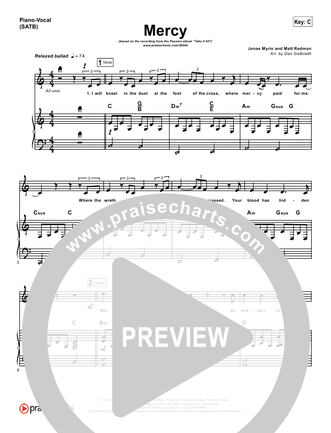 mercy matt redman sheet music pdf