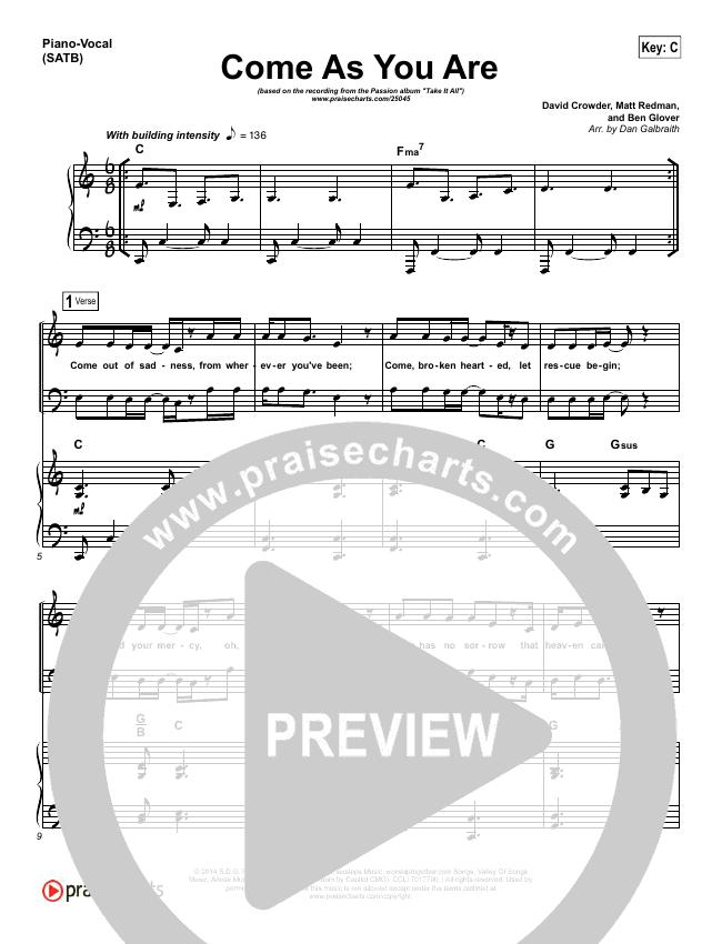 Come As You Are Piano/Vocal (SATB) (David Crowder / Passion)