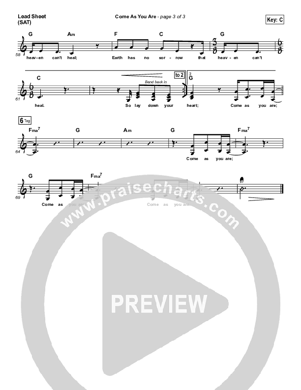 Come As You Are Lead Sheet (SAT) (David Crowder / Passion)