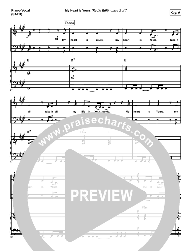 My Heart Is Yours (Radio) Piano/Vocal (SATB) (Kristian Stanfill / Passion)