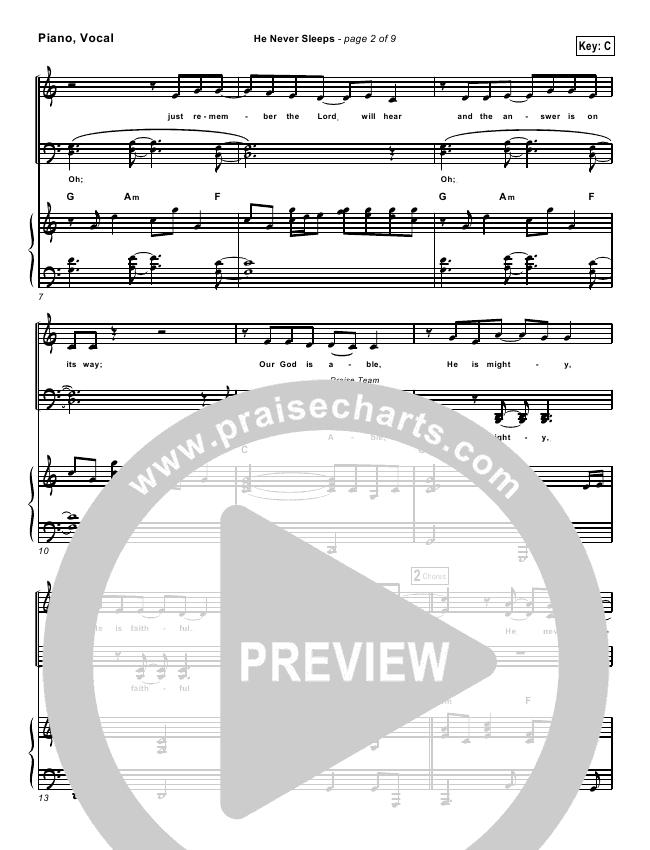 He Never Sleeps Lead Sheet Pianovocal Don Moen Praisecharts