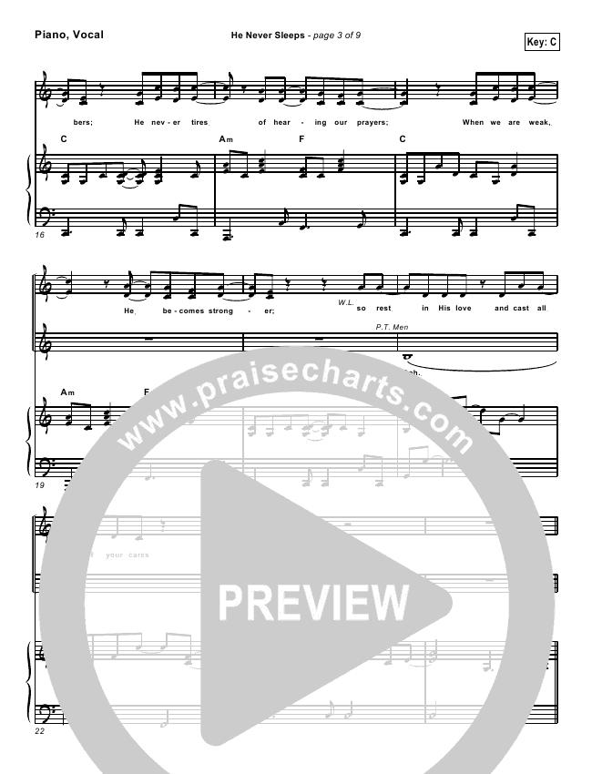 He Never Sleeps Lead Sheet & Piano/Vocal - Don Moen | PraiseCharts