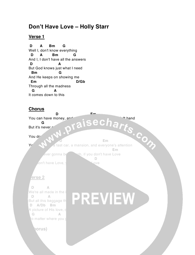 Don\'t Have Love Chords - Holly Starr   PraiseCharts